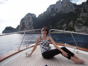 Hard at work or hardly working en route to Capri